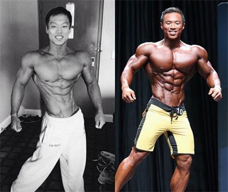 年少就喜欢摆肌肉展示动作,谁能想到,长大后却真的成为健身健将