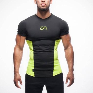 肌肉兄弟男士运动健身训练压缩衣V领短袖