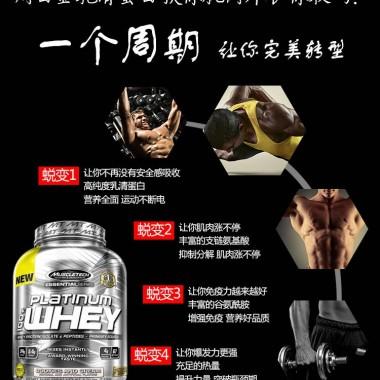 Muscletech肌肉科技白金乳清蛋白粉5磅