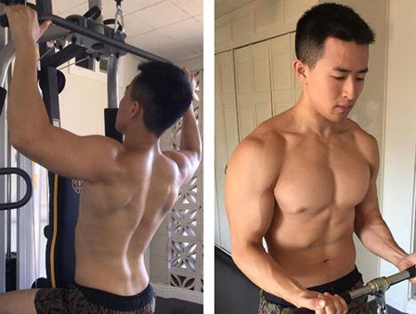 178的美国华裔小伙健身6年,从高三党胖子蜕变为肌肉型男
