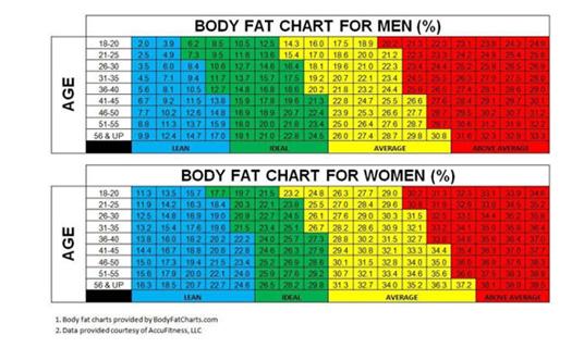 jesloo体测仪男、女体脂比例对照表格